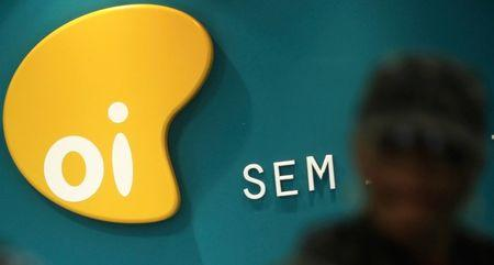 Logo of Brazil's largest fixed-line telecoms group Oi inside a shop in Sao Paulo