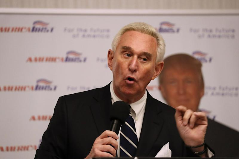 Roger Stone at the launch of his book The Making of the President 2016 in Boca Raton, Florida, in 2017: Getty