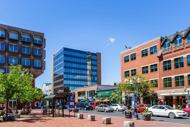 Downtown Moncton, N.B. is seen in an undated file photo. The city ranks at the top of the latest Labour Market Report Card from RBC.