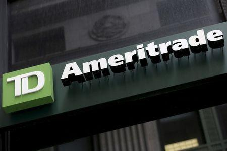 A TD Ameritrade sign is seen outside a branch in the financial district in New York February 29, 2016. REUTERS/Brendan McDermid