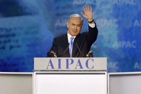 Israel's Prime Minister Benjamin Netanyahu waves at the end of his remarks to the American Israel Public Affairs Committee (AIPAC) policy conference in Washington, March 2, 2015. REUTERS/Jonathan Ernst