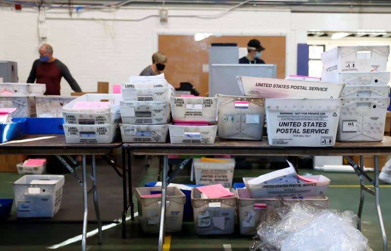 Mail-in ballots are counted in Chester County, Pennsylvania