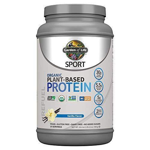 """<p><strong>Garden of Life</strong></p><p>amazon.com</p><p><strong>$39.89</strong></p><p><a href=""""https://www.amazon.com/dp/B01N7DTD98?tag=syn-yahoo-20&ascsubtag=%5Bartid%7C10055.g.35084321%5Bsrc%7Cyahoo-us"""" rel=""""nofollow noopener"""" target=""""_blank"""" data-ylk=""""slk:Shop Now"""" class=""""link rapid-noclick-resp"""">Shop Now</a></p><p>If you're a serious athlete, you may want to opt for Garden of Life's organic sport variety that offers <strong>30 grams of complete protein in one serving, as well as 5.5 grams of non-synthetic BCAAs from organic ingredients and 5 grams of glutamine</strong> that are all imperative to help reduce recovery time. The protein blend features ingredients like peas, navy beans, and lentils. Plus, this variety includes an added blend of antioxidant-rich ingredients like tart cherries and blueberries to promote faster recovery. It's also NSF Certified for Sport (a go-to recommendation for athletes, since it's approved for use by the United States Anti-Doping Agency).</p>"""