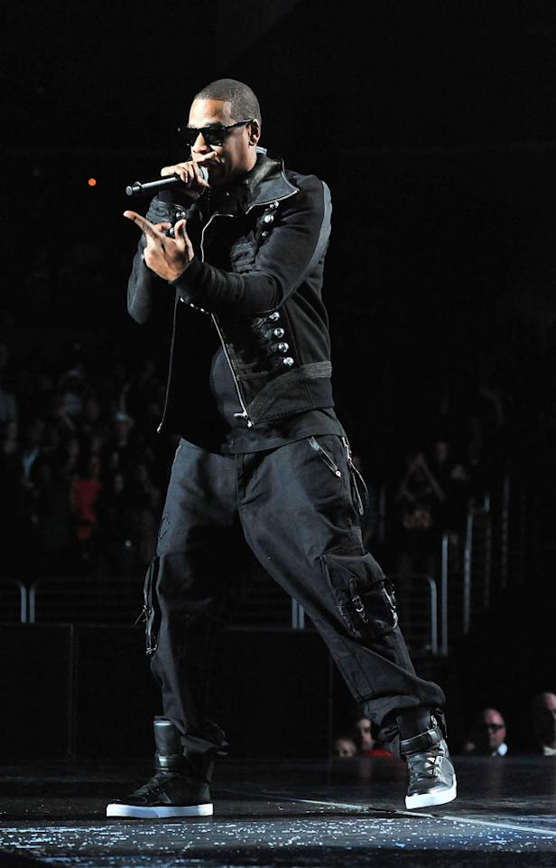"Hip-hop superstar Jay-Z rocks the mic while entertaining a sold-out crowd during a concert stop at the Staples Center in downtown Los Angeles. Dr. Billy Ingram/<a href=""http://www.wireimage.com"" target=""new"">WireImage.com</a> - March 26, 2010"