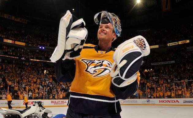 "NASHVILLE, TN – APRIL 20: Goalie <a class=""link rapid-noclick-resp"" href=""/nhl/players/3764/"" data-ylk=""slk:Pekka Rinne"">Pekka Rinne</a> #35 of the <a class=""link rapid-noclick-resp"" href=""/nhl/teams/nas/"" data-ylk=""slk:Nashville Predators"">Nashville Predators</a> skates onto the ice as the first star of the game after a 4-1 victory in Game Four of the Western Conference First Round against the <a class=""link rapid-noclick-resp"" href=""/nhl/teams/chi/"" data-ylk=""slk:Chicago Blackhawks"">Chicago Blackhawks</a> during the 2017 NHL Stanley Cup Playoffs at Bridgestone Arena on April 20, 2017 in Nashville, Tennessee. (Photo by Frederick Breedon/Getty Images)"
