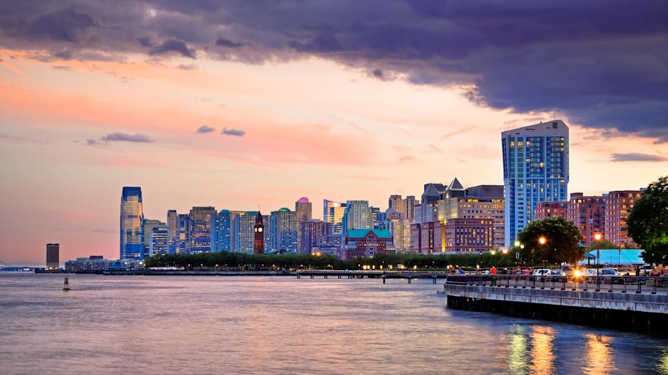 """""""Water-shore of Jersey City on Hudson River, New Jersey""""."""