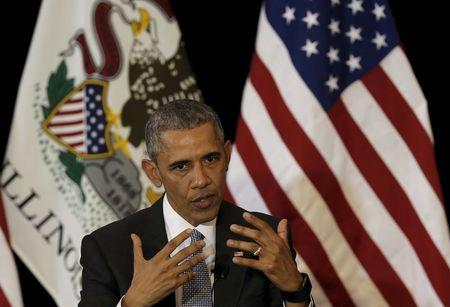 U.S. President Barack Obama speaks at the University of Chicago Law School in Chicago