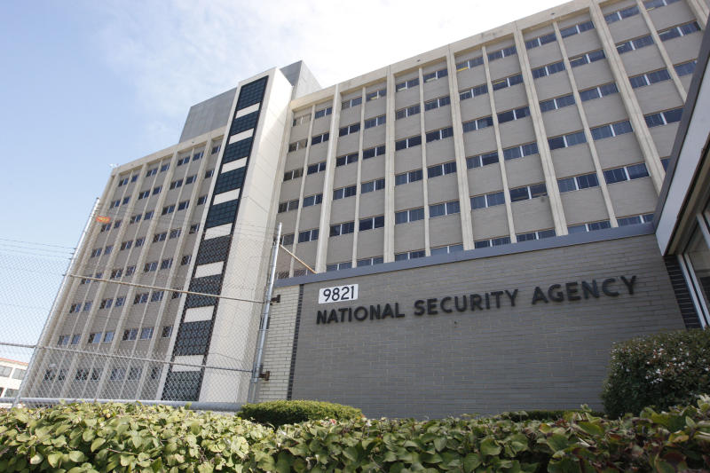 FILE - This Sept. 19, 2007 file photo shows the National Security Agency building at Fort Meade, Md. As many as one of every five worldwide terror threats picked up by U.S. government surveillance has been targeted on the United States, the Obama administration says. But officials are reluctant to say much more about the 50 plots they claim have been thwarted. (AP Photo/Charles Dharapak, File)