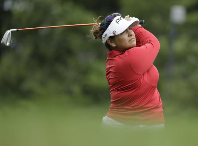 Lizette Salas watches her tee shot on the seventh hole during the second round of the Indy Women in Tech Championship golf tournament, Friday, Aug. 17, 2018, Indianapolis. (AP Photo/Darron Cummings)