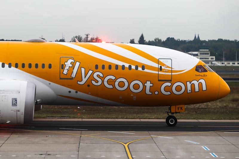Scoot Boeing 787-8 Dreamliner plane is seen at Tegel Airport in Berlin, Germany on 25 September 2019. (Photo by Jakub Porzycki/NurPhoto via Getty Images)