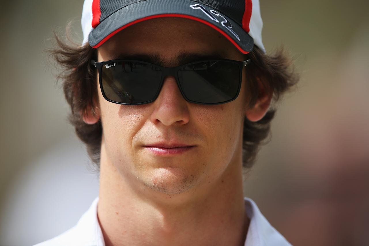 SAKHIR, BAHRAIN - APRIL 18:  Esteban Gutierrez of Mexico and Sauber F1 sits in the paddock during previews for the Bahrain Formula One Grand Prix at the Bahrain International Circuit on April 18, 2013 in Sakhir, Bahrain.  (Photo by Mark Thompson/Getty Images)