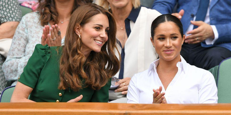 """<p>Duchesses Meghan and Kate are making <a href=""""https://www.townandcountrymag.com/society/tradition/g10241217/royal-family-wimbledon/"""" target=""""_blank"""">joint Wimbledon appearances</a> an annual affair. The two women just arrived in the royal box together, and are there to watch as Meghan's close friend Serena Williams takes on Romanian tennis player Simona Halep for the women's title. This morning's outing <a href=""""https://www.townandcountrymag.com/style/fashion-trends/a22145209/kate-middleton-polka-dot-dress-wimbledon-2018-photos/"""" target=""""_blank"""">is similar to one they made last year</a>, just a few weeks after Meghan and Harry tied the knot, only today's outing also includes Kate's sister Pippa. </p><p>See all the photos of Meghan and Kate at the competition right here. </p>"""