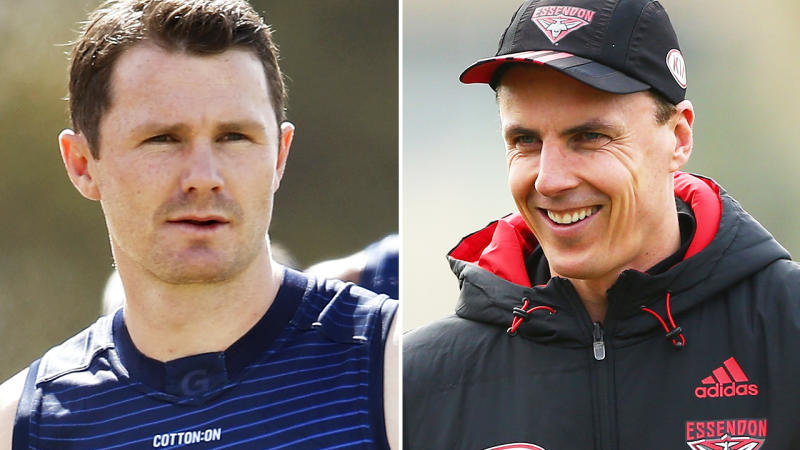 Patrick Dangerfield and Matthew Lloyd, pictured here in action at AFL training sessions.