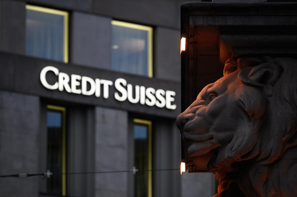 This photograph taken on November 4, 2020 shows a sign of Switzerland's second largest bank Credit Suisse on a branch's building in downtown Geneva. (Photo by Fabrice COFFRINI / AFP) (Photo by FABRICE COFFRINI/AFP via Getty Images)
