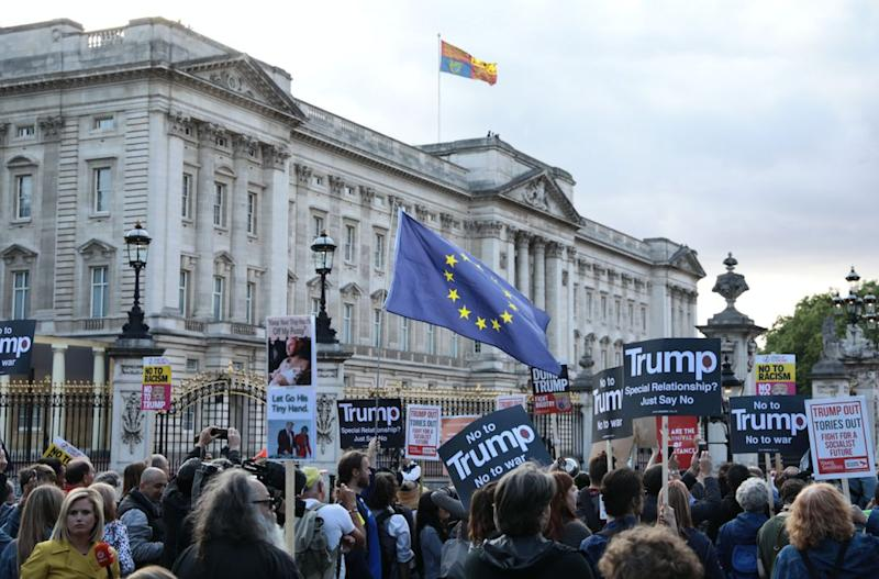 Protests took place in London on Tuesday against Trump's state visit (Getty)