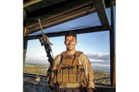This undated photo released by the Riverside County Sheriff's Department shows U.S. Marine Corps Cpl. Hunter Lopez, 22, of Indio, Calif., who was killed on Aug. 26, 2021, in the bomb attacks in Kabul, Afghanistan. Cpl. Hunter Lopez, the son of Riverside County Sheriff's Department Captain Herman Lopez and Deputy Alicia Lopez was a sheriff's Explorer for three years before joining the Marine Corps in Sept. 2017, Sheriff Chad Bianco said. Bianco said Lopez planned to follow in his parents' footsteps and become a Riverside County Sheriff's Deputy after his deployment. (Riverside County Sheriff's Department via AP)