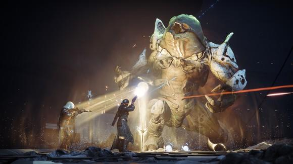 Soldiers fighting a large monster, scene from Destiny 2