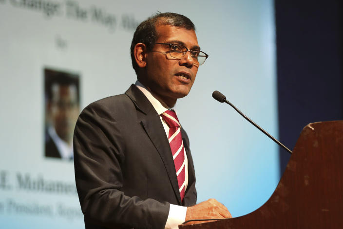 FILE - In this Feb. 14, 2019, file photo, former Maldives President Mohamed Nasheed delivers a lecture on climate change in New Delhi, India. Nasheed has been injured in a blast Thursday, May 6, 2021 near his home and was being treated in a hospital in the capital, police said. (AP Photo/Manish Swarup, File)