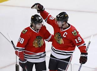 Blackhawks teammates Patrick Kane and Jonathan Toews reportedly are looking for new deals in the $10-12 million range. (AP)