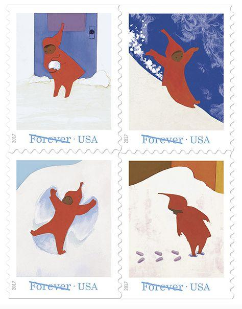 The collection of stamps.