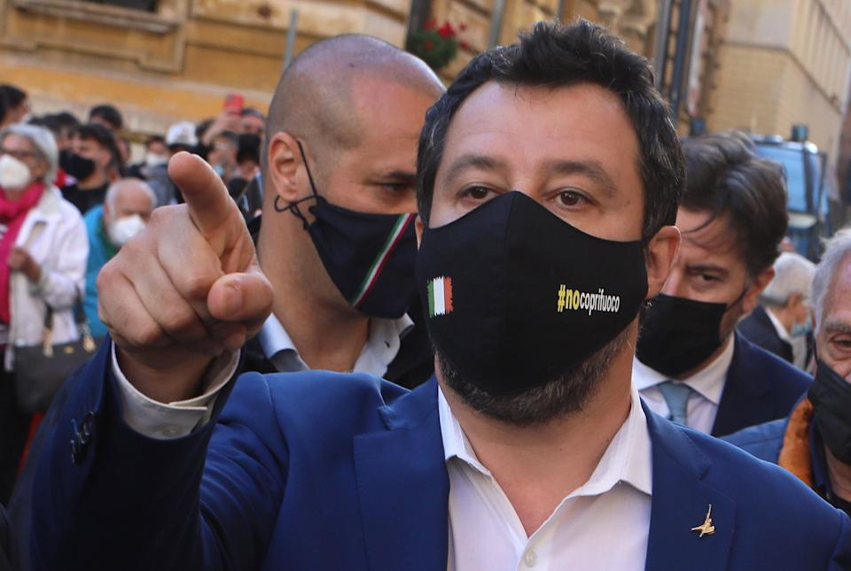 ROME, ITALY - MAY 12,2021: The secretary of the Lega, Matteo Salvini,during the demonstration in solidarity with Israel and against Hamas attacks, in the Jewish ghetto area of the capital, Rome. In response to violent clashes between Israeli and Palestinian security forces in Jerusalem, various factions of Palestinian militants in Gaza have launched missile attacks since May 10. (Photo credit should read Marco Ravagli/Barcroft Media via Getty Images) (Photo: Barcroft Media via Getty Images)