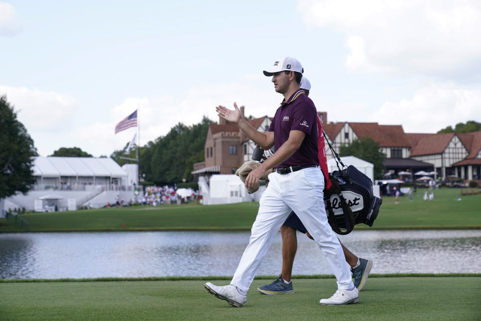 Patrick Cantlay walks on the 16th hole during the first round of the Tour Championship golf tournament Thursday, Sept. 2, 2021, at East Lake Golf Club in Atlanta. (AP Photo/Brynn Anderson)