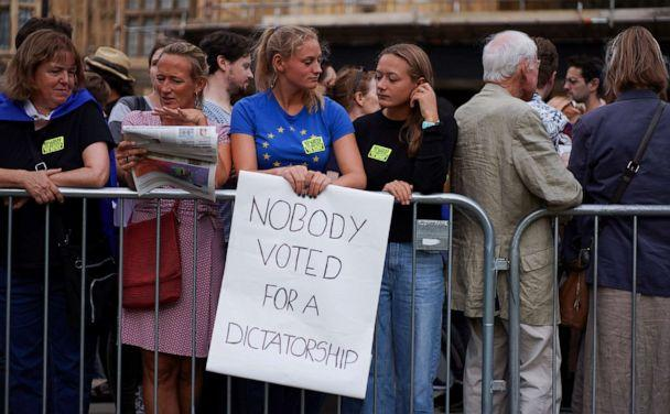 PHOTO: An anti-Brexit protester holds a placard outside the Houses of the Parliament in London, Aug. 28, 2019. (Henry Nicholls/Reuters)