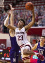 Indiana forward Trayce Jackson-Davis (23) drives to the basket during the second half of the team's NCAA college basketball game against Northwestern, Wednesday, Dec. 23, 2020, in Bloomington, Ind. (AP Photo/Doug McSchooler)