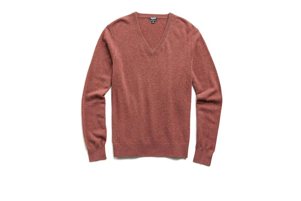 "$298, Todd Snyder. <a href=""https://www.toddsnyder.com/collections/sale/products/cashmere-v-neck-burnt-rose"" rel=""nofollow noopener"" target=""_blank"" data-ylk=""slk:Get it now!"" class=""link rapid-noclick-resp"">Get it now!</a>"