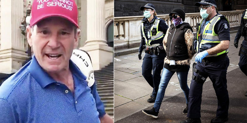 Sam Newman (pictured left) marching on Victorian parliament and a woman being arrested for not following the laws (pictured right).