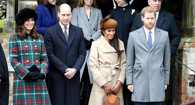 Kate Middleton, Prince William, Meghan Markle, and Prince Harry on Christmas Day. (Photo: Getty Images)