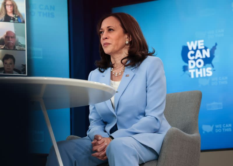 U.S. Vice President Kamala Harris hosts a COVID-19 vaccination event at the White House in Washington