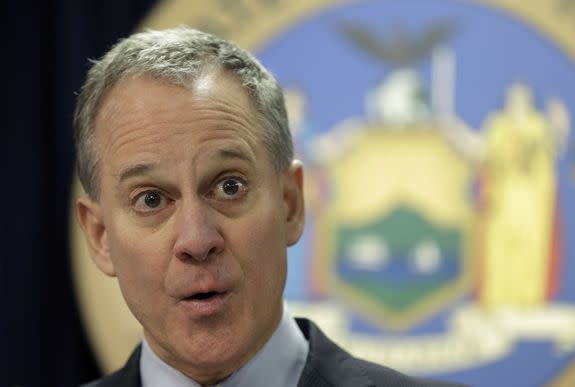 New York Attorney General Eric Schneiderman speaks in New York, Monday, March 21, 2016. He is part of an investigation into Exxon's climate-related activities.