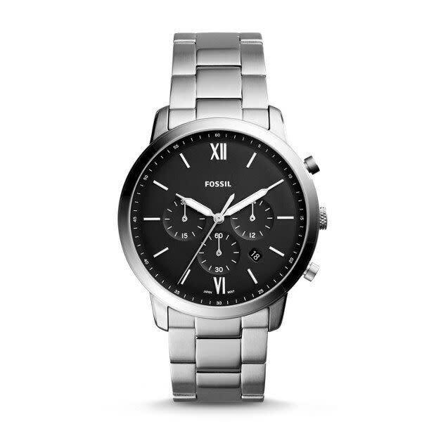 """<strong><a href=""""https://www.fossil.com/us/en/products/neutra-chronograph-stainless-steel-watch-sku-FS5384P.html"""" rel=""""nofollow noopener"""" target=""""_blank"""" data-ylk=""""slk:Fossil Neutra Chronograph Stainless Steel Watch, $149"""" class=""""link rapid-noclick-resp"""">Fossil Neutra Chronograph Stainless Steel Watch, $149 </a></strong>"""