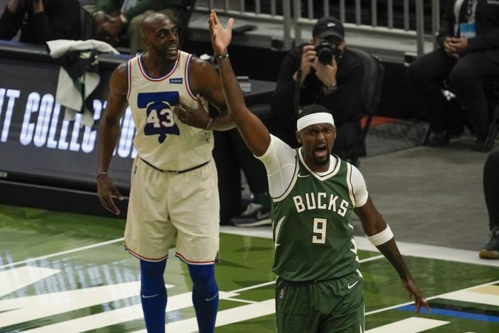 Milwaukee Bucks' Bobby Portis reacts after being fouled during the first half of an NBA basketball game against the Philadelphia 76ers Saturday, April 24, 2021, in Milwaukee. (AP Photo/Morry Gash)