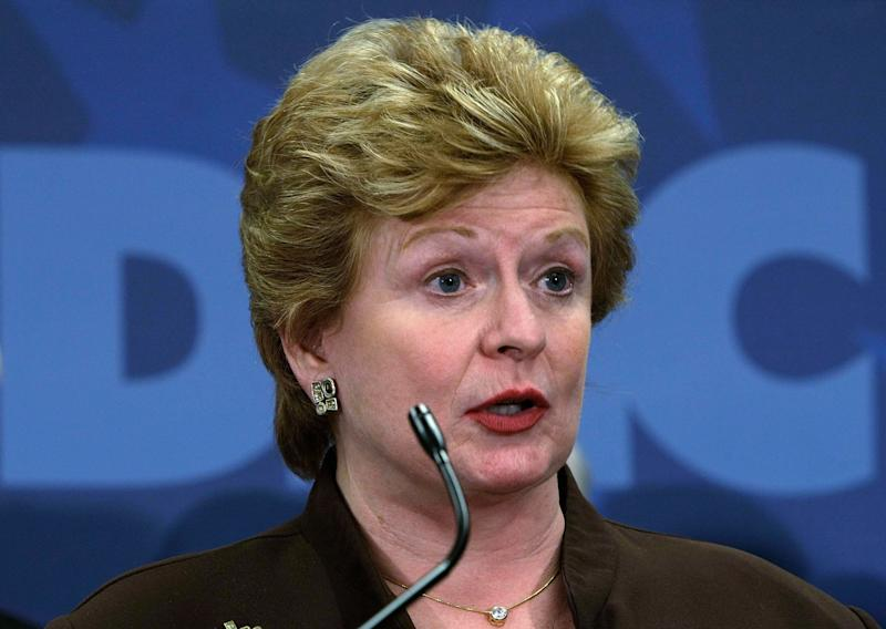 """<a href=""""http://www.senate.gov/artandhistory/history/common/briefing/women_senators.htm""""><strong>Served from:</strong></a> 2001 to present Sen. Debbie Stabenow (D-Mich.) speaks at a news conference on June 10, 2008 in Washington. (Photo by Alex Wong/Getty Images)"""