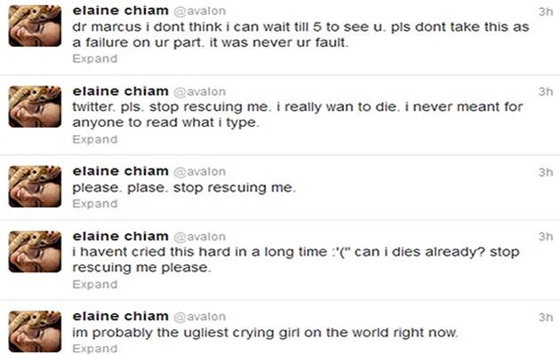 Elaine Chiam's suicidal tweets provoked a flurry of panic from friends