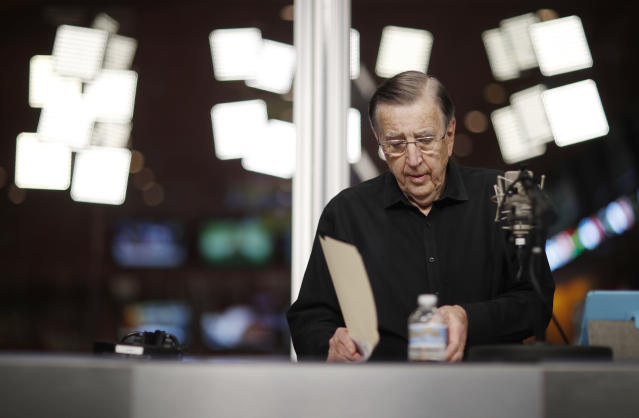 "Raiders radio voice Brent Musburger apologized ""if you were offended"" after stepping into the arena of race-based politics. (Getty)"