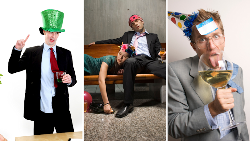 Pictured: Workers being drunk and silly at work office EOFY parties. Images: Getty