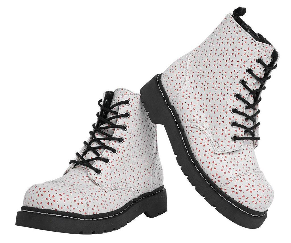 """<p>White Flower Perforated Boots, $75, <a rel=""""nofollow"""" href=""""https://www.tukshoes.com/collections/womens-boots/products/white-flower-perforated-combat-boots?variant=30544288647""""><u>tukshoes.com</u></a>.<span></span></p>"""