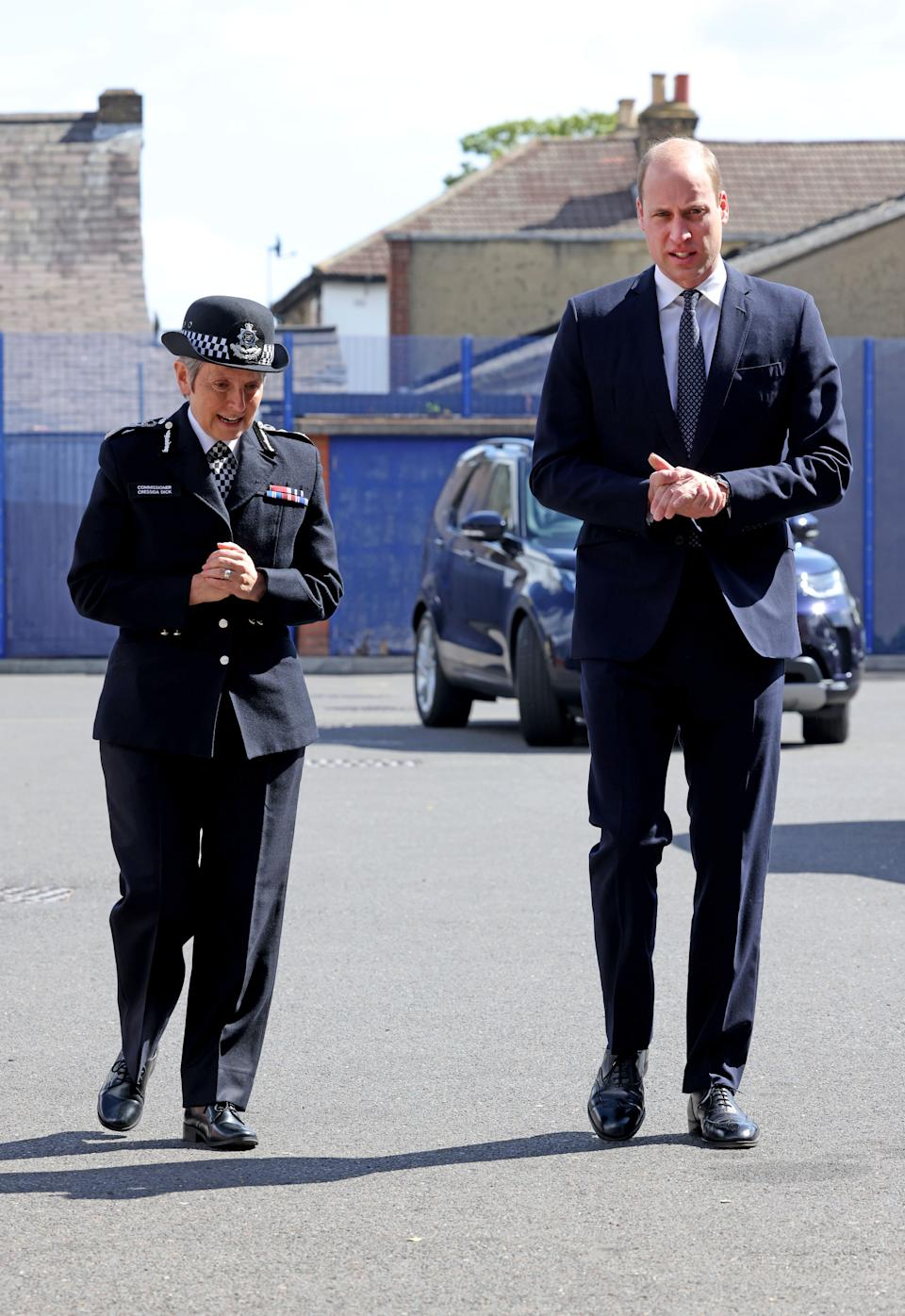 The Duke of Cambridge with Met Commissioner Dame Cressida Dick during a visit to Croydon Custody Centre. Picture date: Wednesday May 12, 2021.