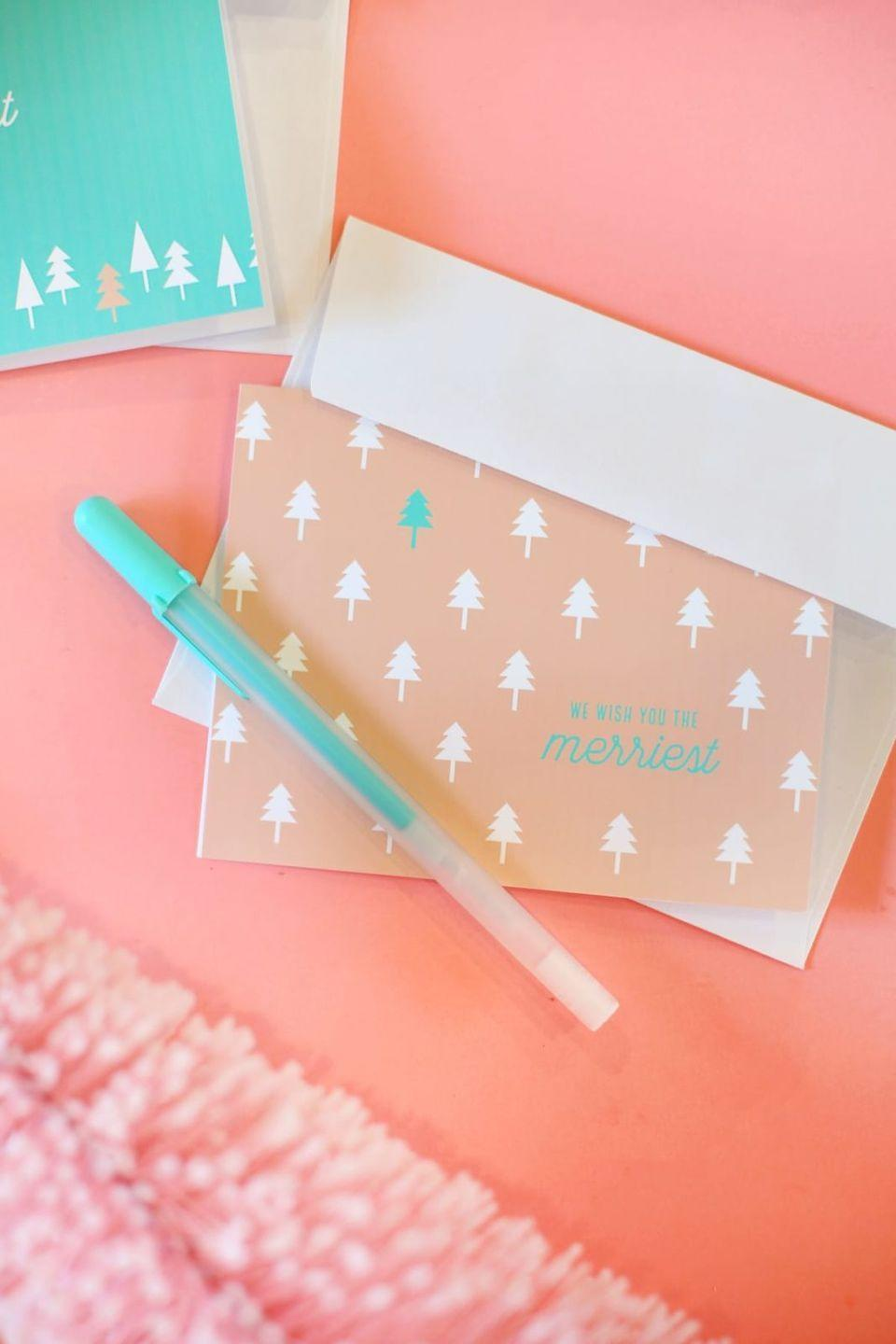 """<p>Rather than splurge on a set of Christmas stationery, opt to print these graphic cards at home—for free. </p><p><em>Get the tutorial at <a href=""""https://lovelyindeed.com/printable-christmas-cards/"""" rel=""""nofollow noopener"""" target=""""_blank"""" data-ylk=""""slk:Lovely Indeed"""" class=""""link rapid-noclick-resp"""">Lovely Indeed</a>.</em></p><p><a class=""""link rapid-noclick-resp"""" href=""""https://www.amazon.com/Greeting-Cards-Heavyweight-Invitations-Anniversary/dp/B00L6RPFZ6?tag=syn-yahoo-20&ascsubtag=%5Bartid%7C10072.g.34351112%5Bsrc%7Cyahoo-us"""" rel=""""nofollow noopener"""" target=""""_blank"""" data-ylk=""""slk:SHOP BLANK CARDS"""">SHOP BLANK CARDS</a><br></p>"""