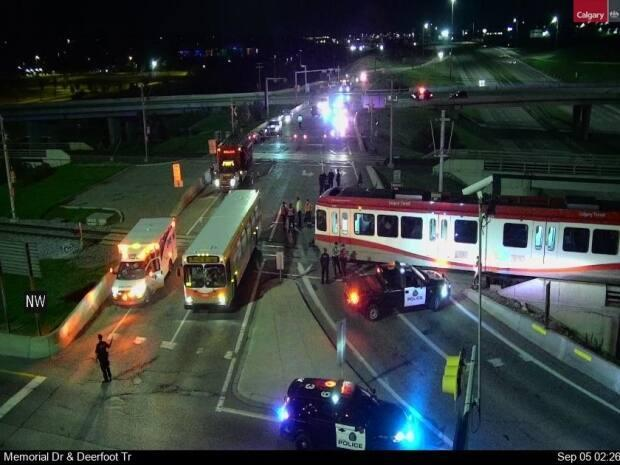 A man is dead after being hit by a CTrain early Sunday morning between Calgary Zoo and Barlow-Max Bell Station. (City of Calgary Transportation/Twitter - image credit)