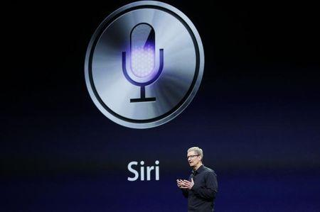CEO Tim Cook talks about Siri during an Apple event in San Francisco, California