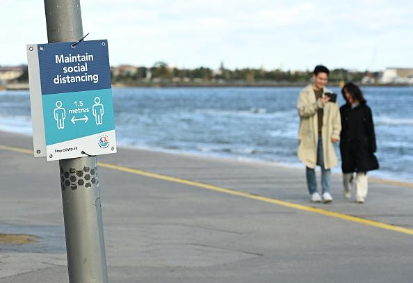 People walk along St Kilda Beach to get their daily exercise in Melbourne, Australia.