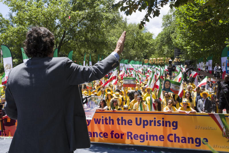 Former U.N. Ambassador and New Mexico Gov. Bill Richardson, speaks to activists gathered at the State Department before a march to the White House to call for regime change in Iran, Friday, June 21, 2019, in Washington. (AP Photo/Alex Brandon)