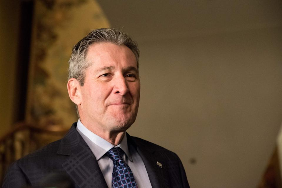 Manitoba Prime Minister Brian Pallister attends a meeting of the prime ministers of the Canadian provinces on December 7, 2018, in Montreal. - The meeting was called for by Canadian Prime Minister Justin Trudeau. (Photo by MARTIN OUELLET-DIOTTE / AFP) (Photo credit should read MARTIN OUELLET-DIOTTE/AFP via Getty Images)