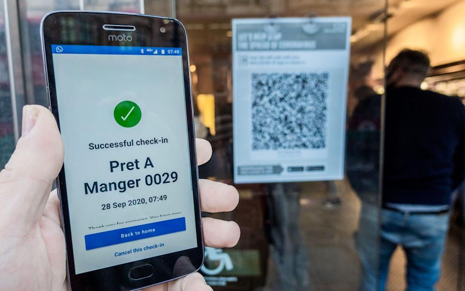 London, UK. 28th Sep, 2020. Checking in using the NHS track and trace app at Pret as the Coronavirus Lockdown restrictions increase. Credit: Guy Bell/Alamy Live News - Guy Bell / Alamy Stock Photo