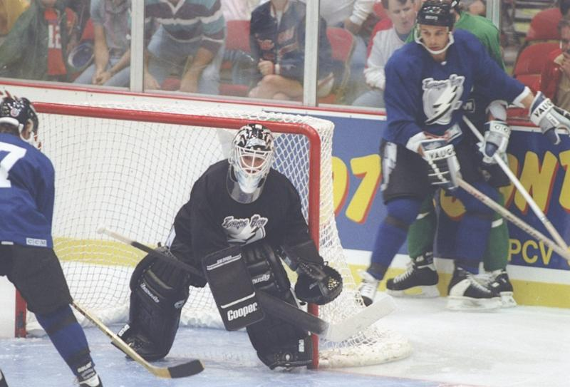 Sep 1992: Goaltender Manon Rheaume of the Tampa Bay Lightning in action during a game. Mandatory Credit: Scott Halleran /Allsport