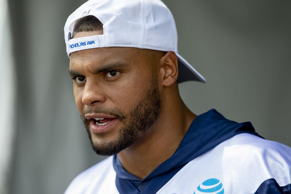 """Dak Prescott provided his thoughts on the """"Get Out"""" mural painted of him in Dallas. (AP)"""